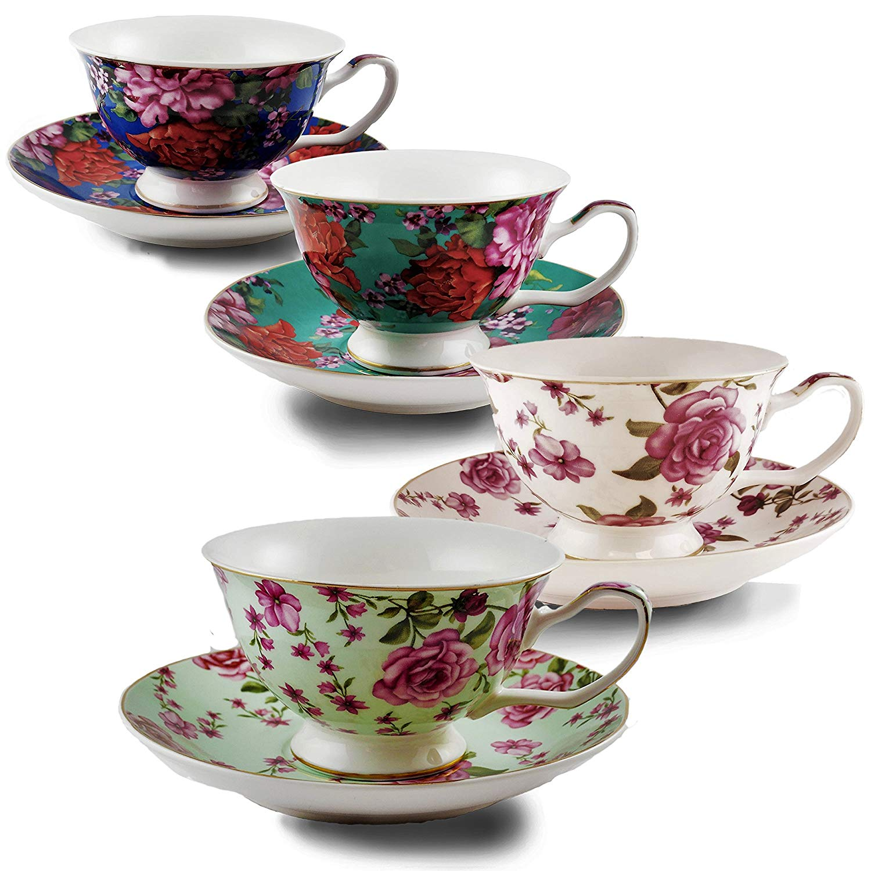 Btät Tea Cups And Saucers Set Of 4 Fl 7oz Porcelain For Party