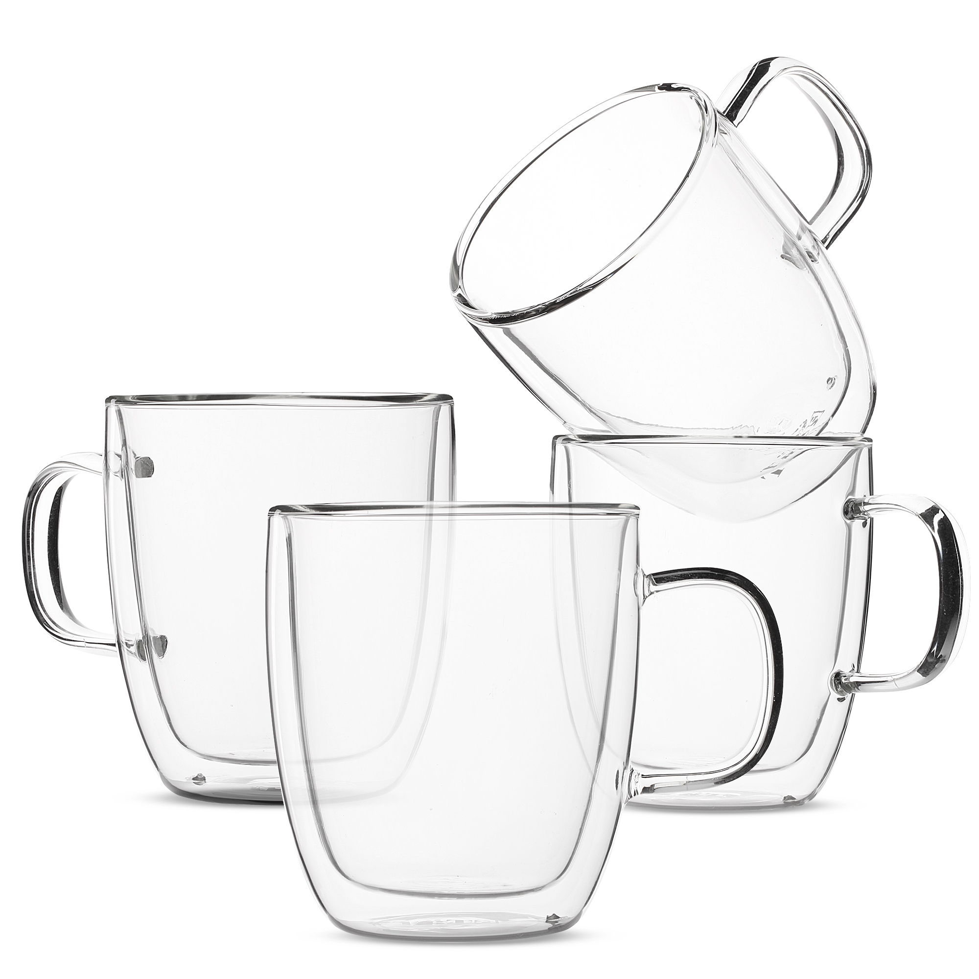 4435cf7ed6a BTäT- Insulated Coffee Mugs, Glass Tea Mugs, Set of 4 (12 oz, 350 ml ...
