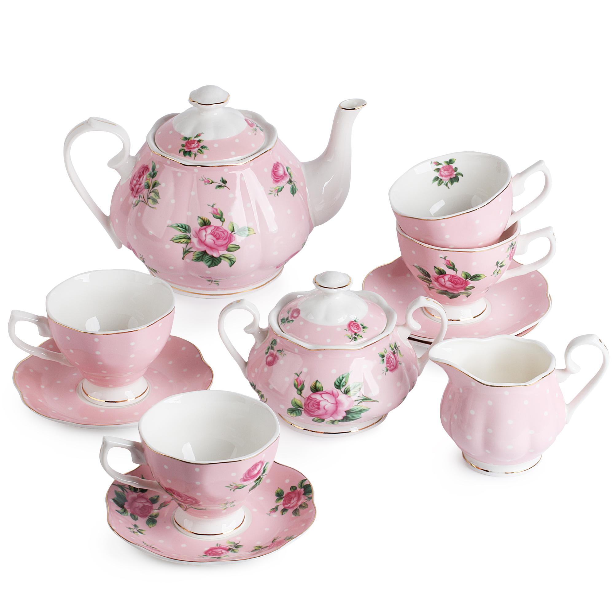 BTäT- Floral Tea Set, Tea cups (8oz), Tea Pot (38oz