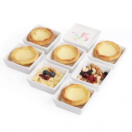 BTäT- Ramekins 4 oz Square, Set of 8 Ramekins for Baking, Creme Brulee Dishes, Souffle Cups, Flan Pan, Sauce Cups, Custard Cups, Pudding Cups, Desert Bowls, Dipping Bowls, Baking Bowls, Small Ramekins