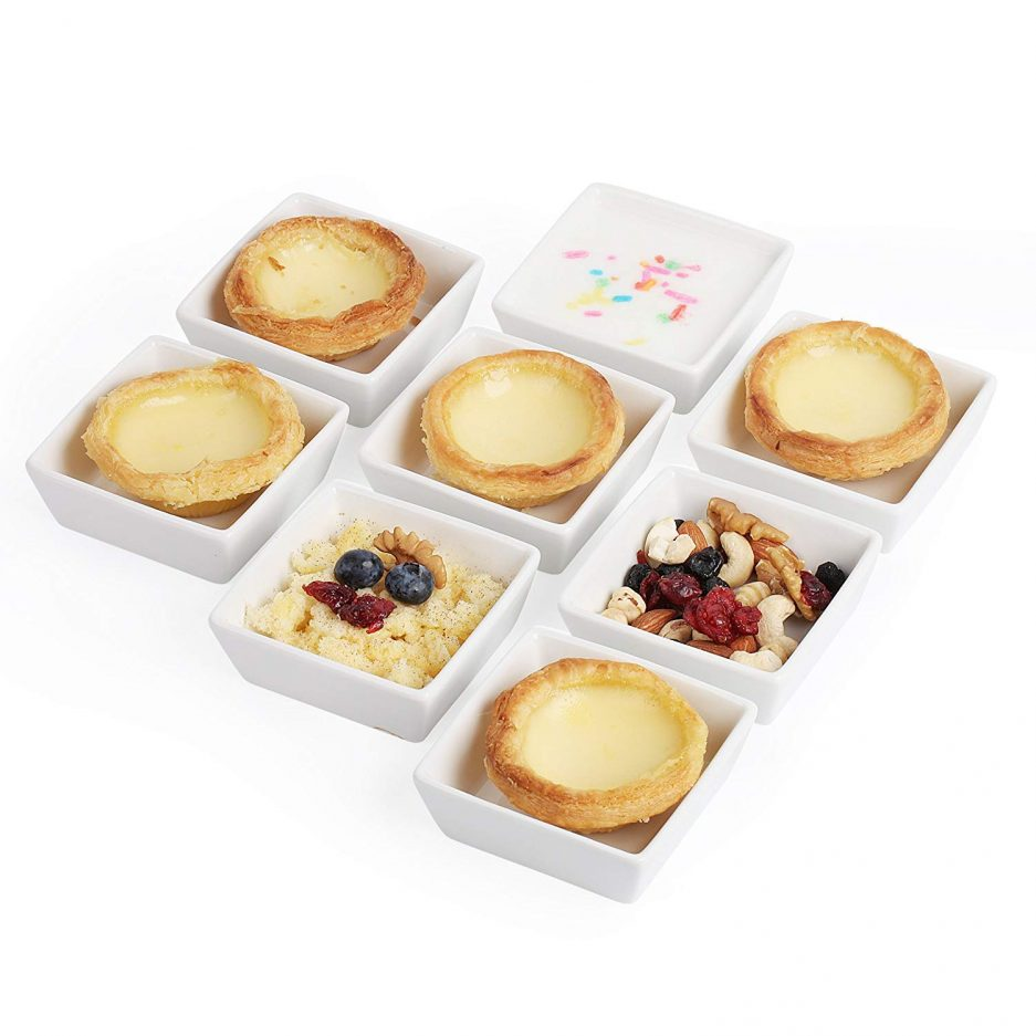 BTäT- Ramekins 4 oz Square, Set of 8 Ramekins for Baking, Creme Brulee Dishes, Souffle Cups, Flan Pan, Sauce Cups, Custard Cups, Pudding Cups, Desert Bowls, Dipping Bowls, Baking Bowls, Small Ramekins