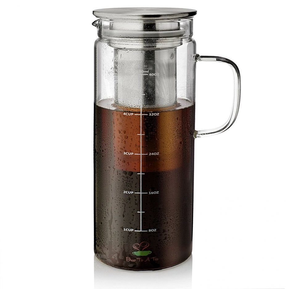 BTäT- Cold Brew Coffee Maker, 1.0 Quart,32 oz Iced Coffee Maker, Iced Tea Maker, Airtight Cold Brew Pitcher, Coffee Accessories, Cold Brew System, Cold Tea Brewing, Coffee Gift, Tea Maker with Infuser