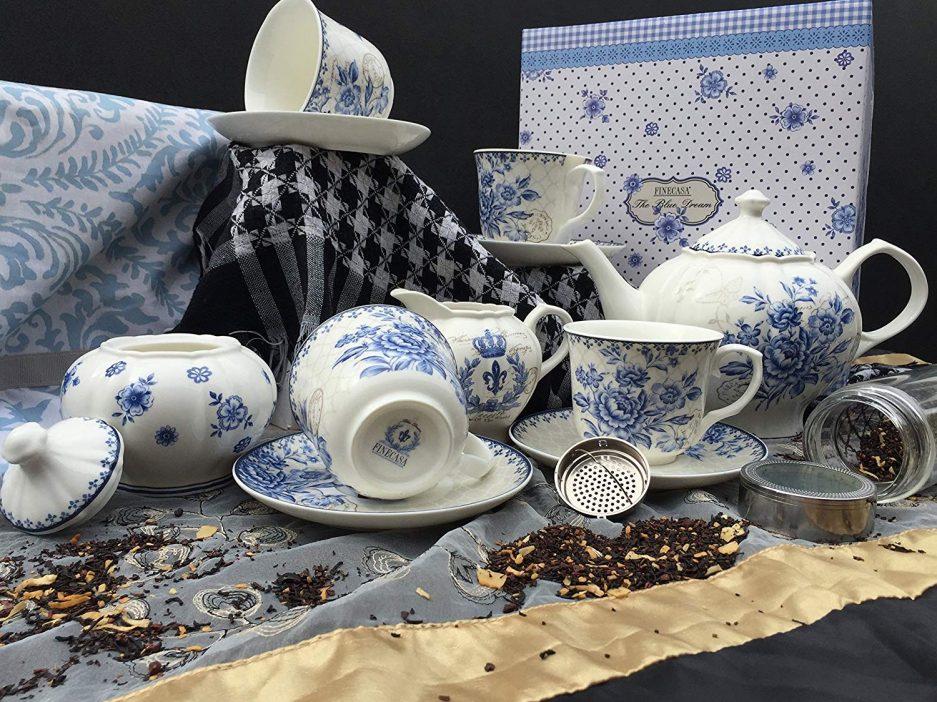 BTäT - Tea Set, China Tea Set, Tea Service, Tea Cups (8oz), Creamer and Sugar Set, Tea Cups and Saucer Set, Tea Pot, Tea Set for Adults, Tea Cups Set of 4, Blue Dream Tea Set, Porcelain Tea Set, Cups