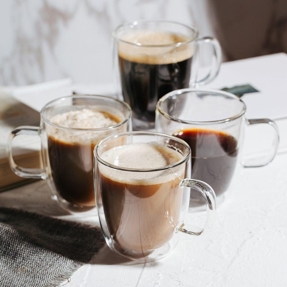 BTäT- Insulated Coffee Mugs, Glass Tea Mugs, Set of 4 (12 oz, 350 ml), Double Wall Glass Coffee Cups, Tea Cups, Latte Cups, Glass Coffee Mug, Beer Glasses, Latte Mug, Clear Mugs, Glass Cappuccino Cups