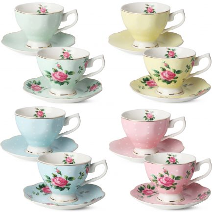 BTäT- Floral Tea Cups and Saucers, Set of 8 (8 oz) with Gold Trim and Gift Box, Coffee Cups, Floral Tea Cup Set, British Tea Cups, Porcelain Tea Set, Tea Sets for Women, Latte Cups