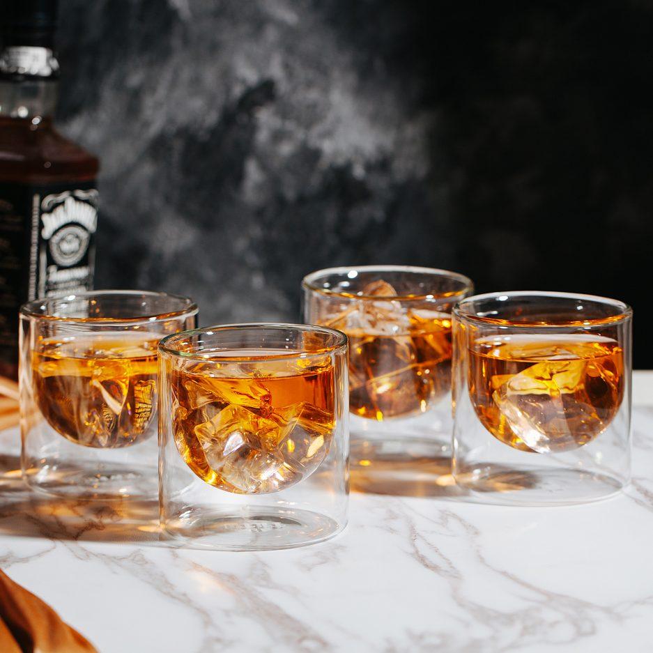 BTäT- Whiskey Glasses, Drinking Glasses, Set of 4 (6.5 oz, 190 ml), Double Wall Glass, Bourbon Glasses, Whiskey Glass Set, Drink Glasses, Cocktail Glasses, Scotch Glasses, Highball Glasses, Rock Glass