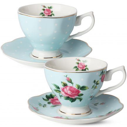 BTäT- Floral Tea Cups and Saucers, Set of 2 (Blue – 8 oz) with Gold Trim and Gift Box, Coffee Cups, Floral Tea Cup Set, British Tea Cups, Porcelain Tea Set, Tea Sets for Women, Latte Cups