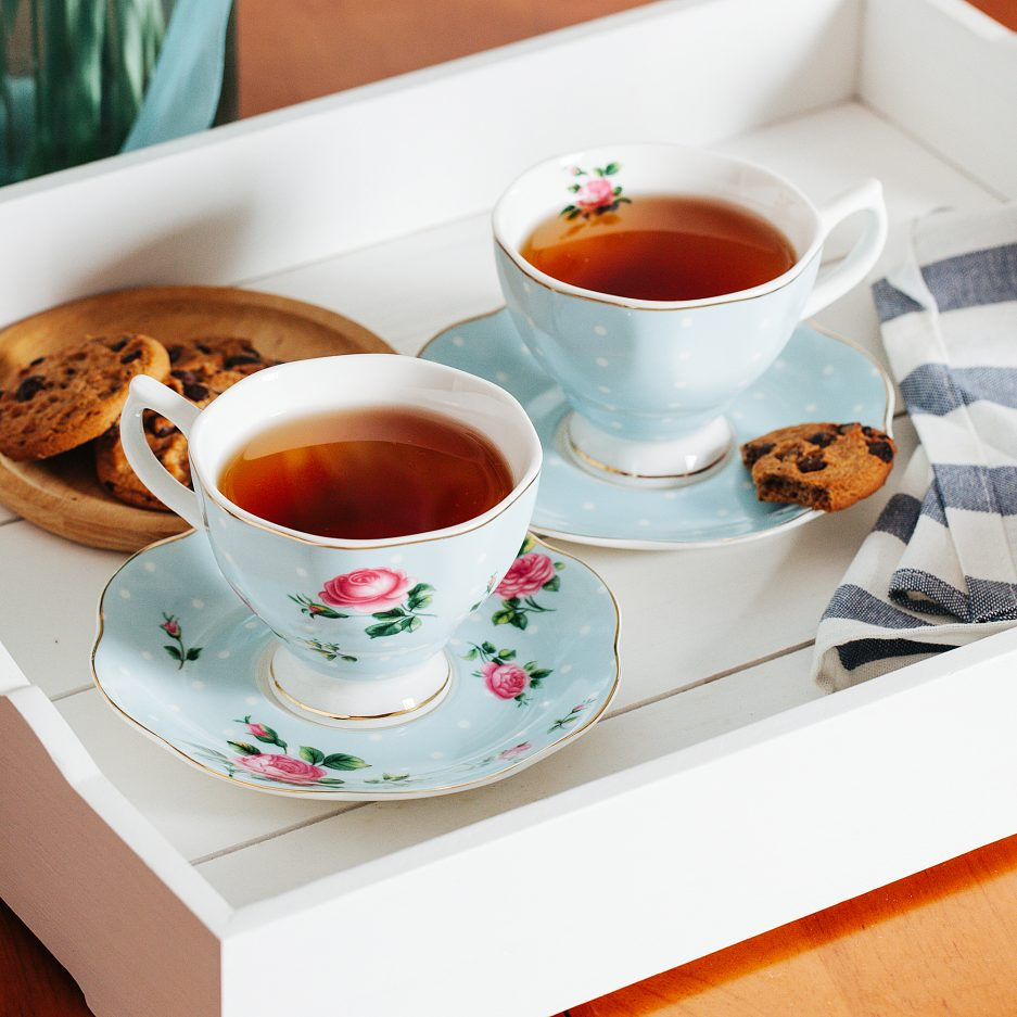 BTäT- Floral Tea Cups and Saucers, Set of 8 (8 oz) with Gold Trim and Gift Box, Coffee Cups, Floral Tea Cup Set, British Tea Cups, Porcelain Tea Set, Tea Sets for Women, Latte Cups
