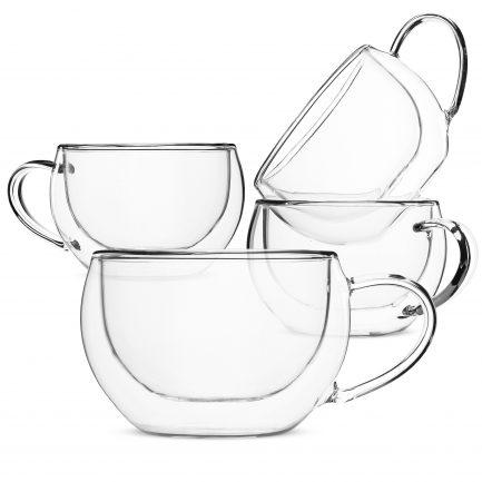 BTäT- Insulated Espresso Cups, Glass Tea Cups, Set of 4 (6 oz, 180 ml), Glass Coffee Mugs, Espresso Cups, Double Wall Glass Cups, Latte Cups, Tea Glasses, Latte Mug, Clear Coffee Cup, Espresso Glass
