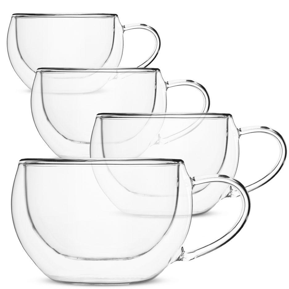 BTäT- Insulated Coffee Cups, Set of 4 (10 oz, 300 ml)Double Wall Glass Tea Cups, Glass Cups, Glass Mug, Glass Coffee Cups, Latte Cups, Latte Mug, Clear Mugs, Glass Cappuccino Cups, Glass Coffee Mugs