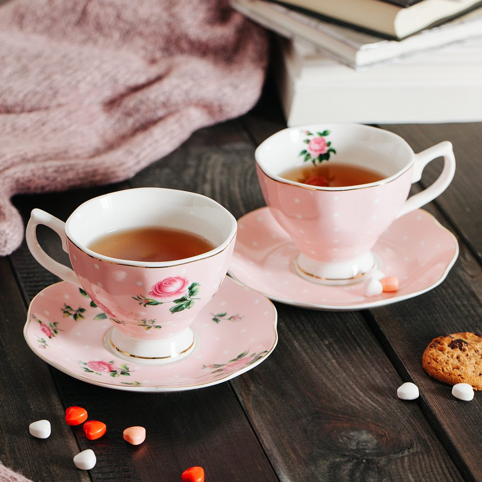 BTäT- Floral Tea Cups and Saucers, Set of 2 (Pink - 8 oz) with Gold Trim and Gift Box, Coffee Cups, Floral Tea Cup Set, British Tea Cups, Porcelain Tea Set, Tea Sets for Women, Latte Cups