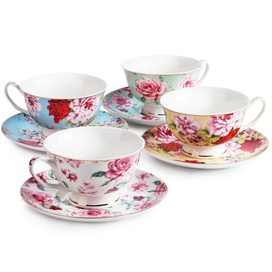 BTäT- Tea Cups, Tea Cups and Saucers Set of 4, Tea Set, Floral Tea Cups (8oz), Tea Cups and Saucers Set, Tea Set, Porcelain Tea Cups, Tea Cups for Tea Party, Rose Teacups, China Tea Cups (Bone China)