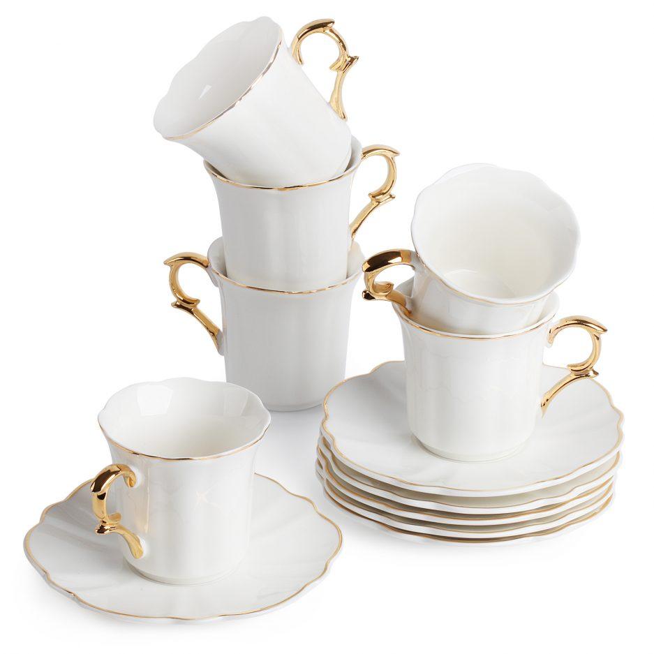 BTäT- Espresso Cups and Saucers, Set of 6 Demitasse Cups (2.4 oz) with Gold Trim and Gift Box, Small Coffee Cups, White Espresso Cup Set, Turkish Coffee Cups, Porcelain Espresso Mugs, Espresso Set