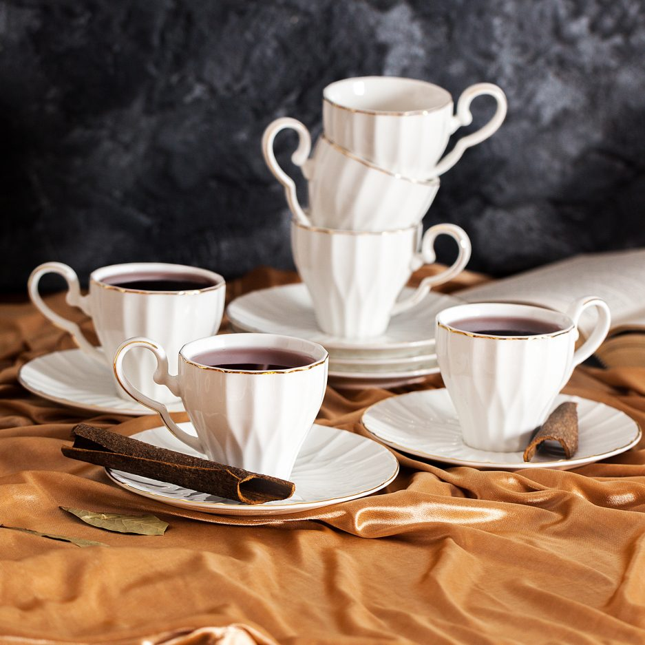 BTäT- Tea Cups and Saucers, Set of 6 (6 oz) with Gold Trim and Gift Box, Cappuccino Cups, Coffee Cups, White Tea Cup Set, British Coffee Cups, Porcelain Tea Set, Latte Cups, Espresso Mug, White Cups