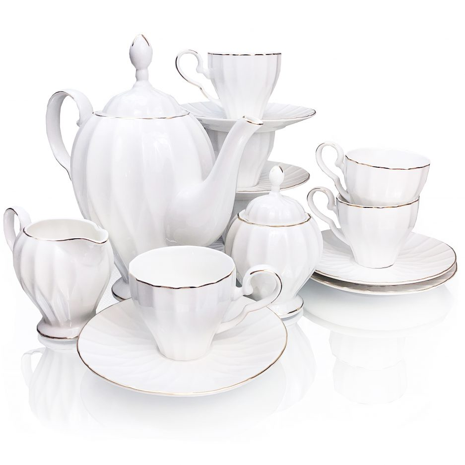 BTäT- Royal Tea Set, 6 Tea cups (6oz), Tea Pot (38oz), Creamer and Sugar Set, Gift box, China Tea Set, Tea Service, Tea Cups and Saucer Set, Tea Set for Adults, Tea Cups Set of 6, Porcelain Tea Set