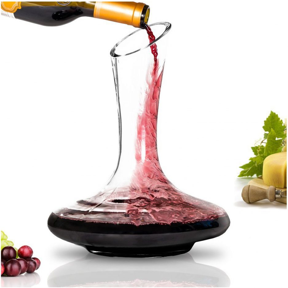 BTäT- Decanter with Stand, Wine Decanter, Wine Carafe, Hand Blown 100% Lead Free Crystal Glass, Wine Accessories, Crystal Decanter, Wine lover Gifts, Wine Decanters and Carafes, Wine Decanter Aerator